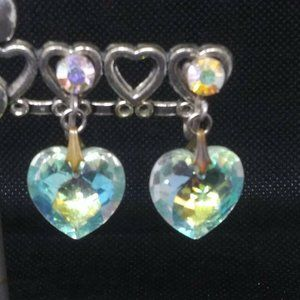 925 Sterling Silver AB Heart Earrings Clip